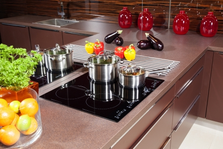 Modern kitchen  with glass induction hob