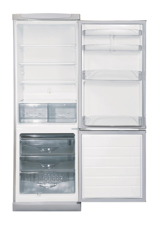 Open two door INOX refrigerator isolated on white Zdjęcie Seryjne