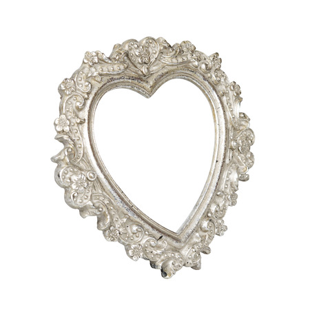 Old silver heart picture frame isolated on white with clipping path  photo
