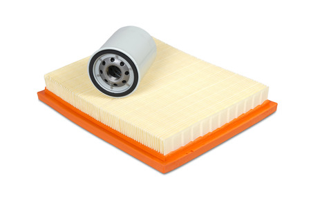lubricate: Automobile oil and air filters isolated on white with clipping path