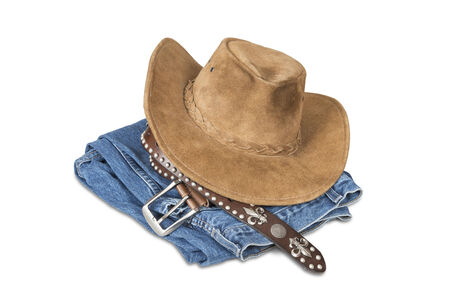 Cowboy hat and accessories isolated over white with clipping path  photo