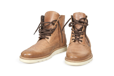 Hiking boots isolated over white with clipping path  photo