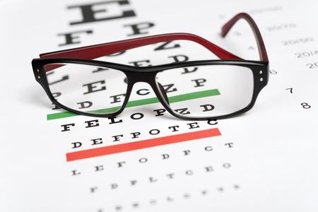 examen de la vista: Anteojos en el fondo gr�fico de los ojos