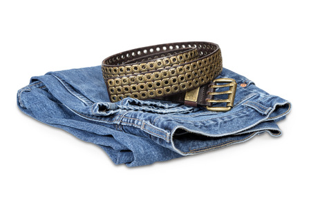 Blue jeans and leather belt isolated over white  photo