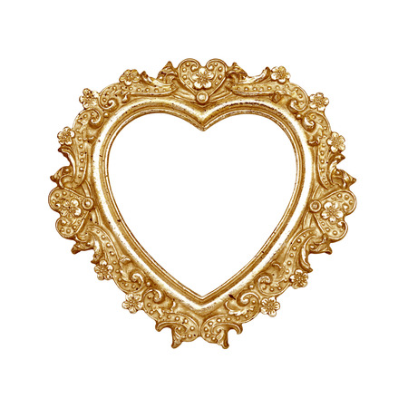 Old golden heart picture frame isolated on white with clipping path  Foto de archivo