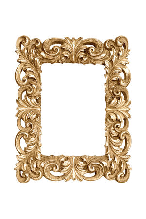 Gold carved picture frame isolated over white  photo