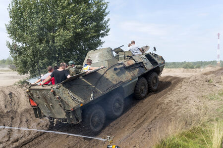 Driving on a military range during  X International meeting of military vehicles TRACKS AND HORSESHOE  in Borne Sulinowo, Poland on August 16, 2013