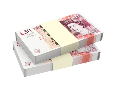 fifty: English money isolated on white background  Computer generated 3D photo rendering