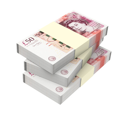 English money isolated on white background  Computer generated 3D photo rendering