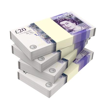 Englisch Geld isoliert auf weißem Hintergrund Computer generierte Fotos 3D-Rendering