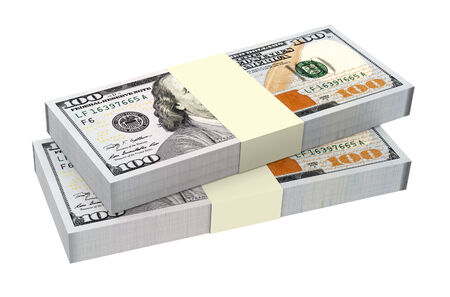 Dollars money isolated on white background  Computer generated 3D photo rendering  Stock Photo