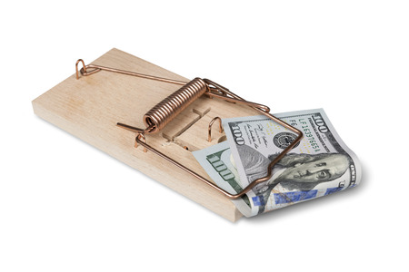 Mouse trap with american dollars photo