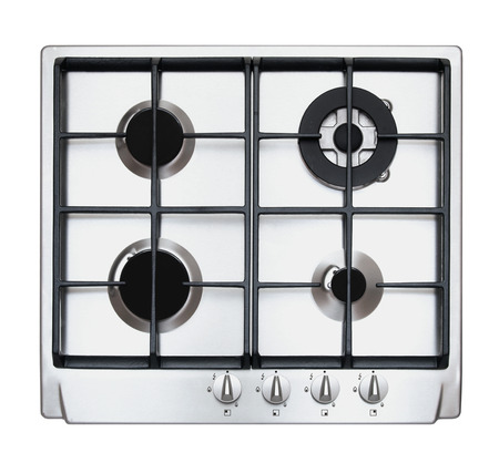 Stainless Steel Gas Hob Isolated On White Stock Photo, Picture And ...