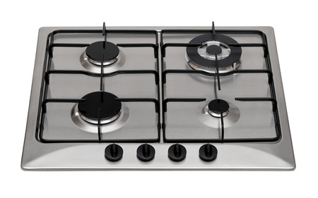 Stainless steel gas hob isolated on white photo