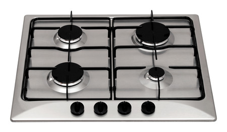 Stainless steel gas hob isolated on white 版權商用圖片