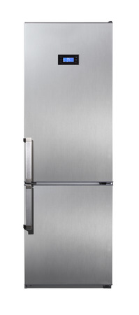 frig: Two door stainless steel refrigerator isolated on white Stock Photo