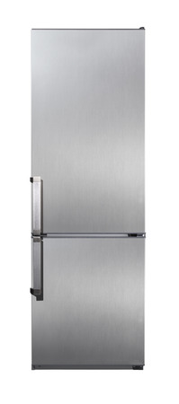 Two door stainless steel refrigerator isolated on white Stock Photo