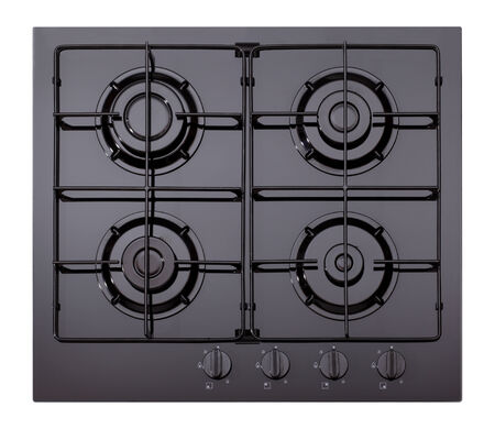 buit in: Black glass gas hob isolated on white