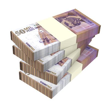 Kolumbianische Pesos Geld isoliert auf weißem Hintergrund