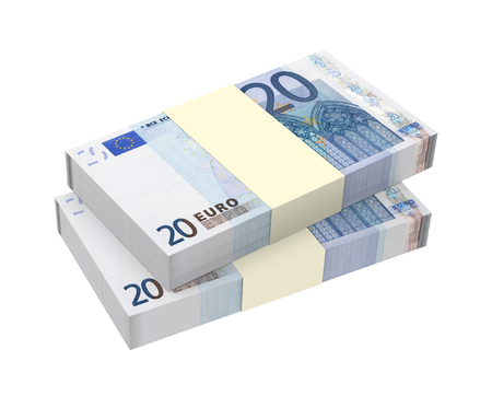 batch of euro: Euro money isolated on white .Computer generated 3D photo rendering  Stock Photo