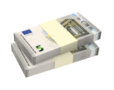 batch of euro: Euro money isolated on white background  Computer generated 3D photo rendering  Stock Photo