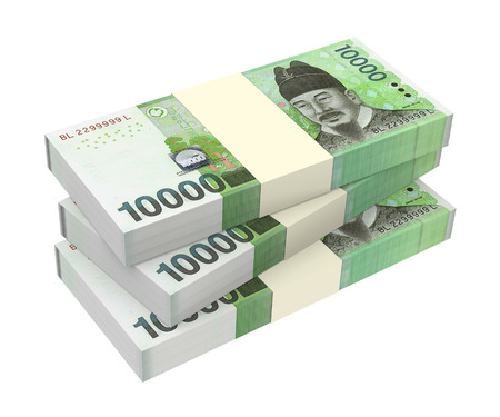 Korean won money isolated on white background  Computer generated 3D photo rendering  Stock Photo