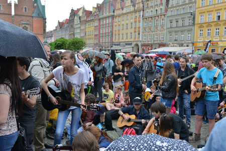 world record: The fans of guitar music will gather together to play  Hey Joe  at the  Annual Thanks Jimi Guitar Festival , they beat the Guinness World Record in Wroclaw, Poland on May 1, 2014  Guitarists played together  7344, the record was beaten  Editorial