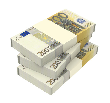 Euro money isolated on white background  Computer generated 3D photo rendering  photo