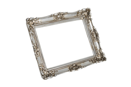 Silver frame in perspective over white with clipping path   photo