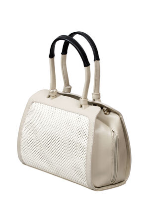 White leather handbag isolated over white with clipping path  photo