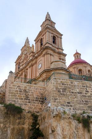 parish: View of Parish Church - Mellieha, Malta Stock Photo