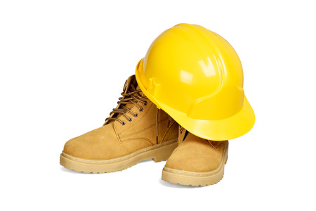 ppe: Protection helmet and boots isolated over white with clipping path  Stock Photo