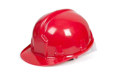Red hard hat isolated on white with clipping path  photo