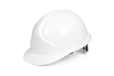 White hard hat isolated on white with clipping path