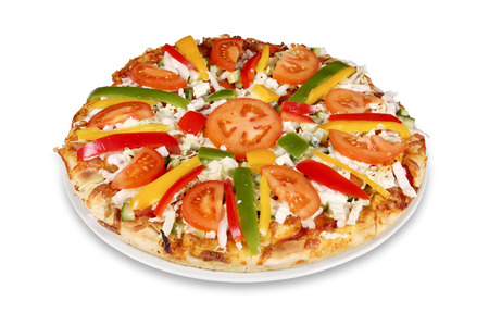 Tasty pizza with vegetables isolated over white with clipping path  photo