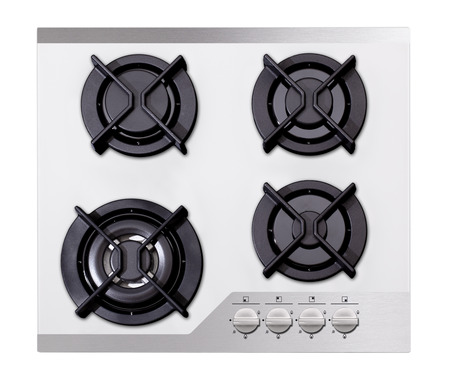 White glass gas hob isolated on white photo