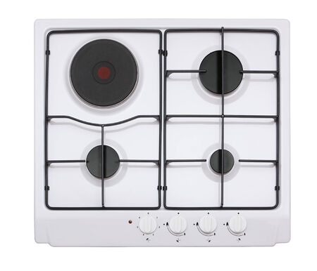White gas-electric hob isolated on white photo