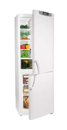 Two door white refrigerator isolated on white photo