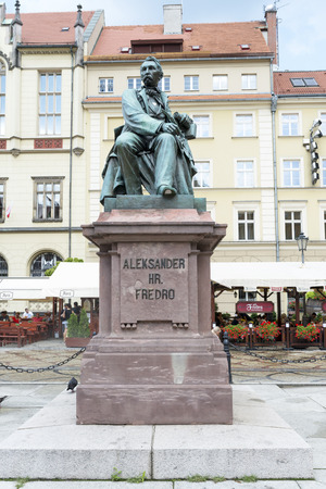 leonard: Monument comedy-writer Aleksander Fredro made of bronze in year 1897 by sculptor Leonard Marconi on 3 August 2014 in Wroclaw, Poland  Editorial