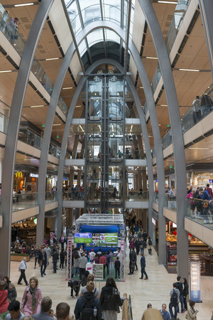 entresol: The interior of the shopping center  Europa Passage  full of shoppers and tourists on 20 Juni 2014 in Hamburg, Germany   Editorial