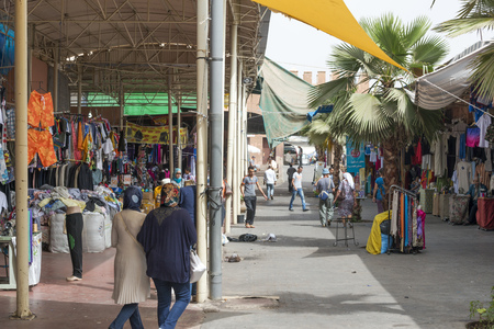 Marocco: Sellers offer various clothes and accessories in the city market (Suk) on 28 August 2014 in Agadir, Marocco