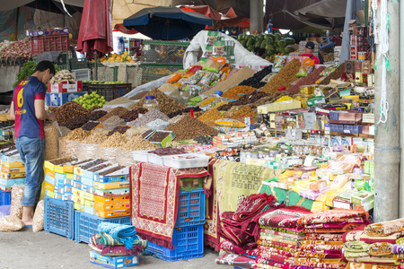 marocco: Sellers offer various spices in the city market (Suk) on 28 August 2014 in Agadir, Marocco