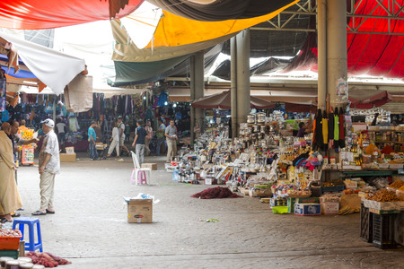 marocco: Sellers offer various essential products in the Suk - city market  on 28 August 2014 in Agadir, Marocco.