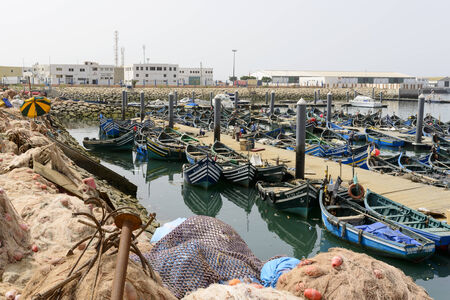 marocco: View of fishing boats in Essaouira port on 27 August 2014 in Agadir, Marocco. Morocco is one of the largest producers of sardines in the world.