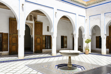 El Bahia Palace which is visited by tourists from world on 24 August 2014 in Marrakesh, Morocco. It is an example of Eastern Architecture from the 19th century. Editorial