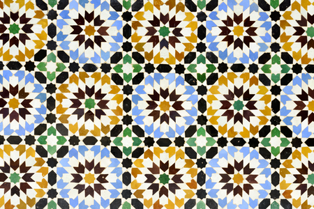 marocco: Morrocan traditional mosaic ornament from the Ben Youssef Madrasa in Marrakesh.