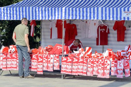 Polish fans accessories stand in front of the sports hall during the European Championship in volleyball on 6 September 2014 in Wroclaw, Poland.
