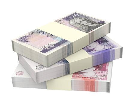 british money: Scottish and British money isolated on white background. Computer generated 3D photo rendering Stock Photo