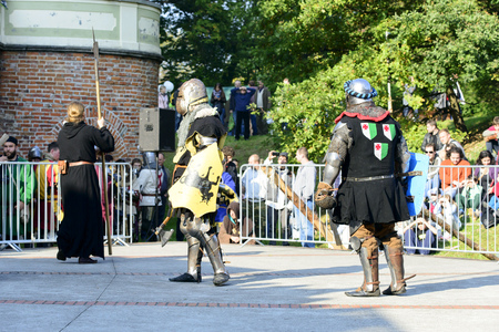 Enthusiasts of the old knights show their costumes and skills in a duel at the Cultural Center Castle - Lesnica on 5 October 2014 in Wroclaw, Poland.