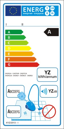 Vacuum cleaners for carpet new energy rating graph label Illustration